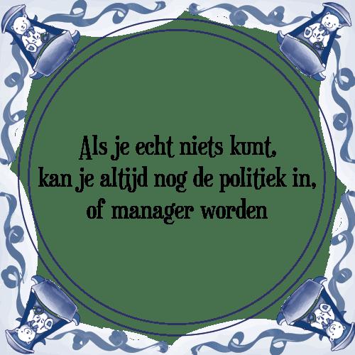 manager spreuken Politiek manager   Tegel + Spreuk | TegelSpreuken.nl manager spreuken