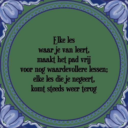 waardevolle spreuken Elke les   Tegel + Spreuk   TegelSpreuken.nl waardevolle spreuken