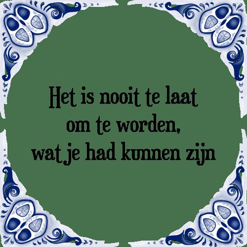 spreuken en gezegden tegeltjes Nooit laat   Tegel + Spreuk | TegelSpreuken.nl spreuken en gezegden tegeltjes