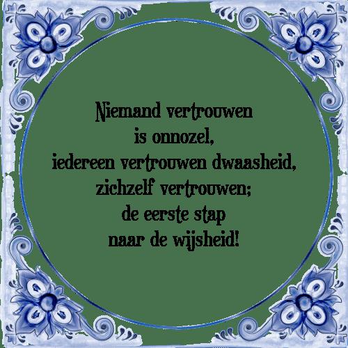 spreuken vertrouwen Niemand vertrouwen is   Tegel + Spreuk | TegelSpreuken.nl spreuken vertrouwen