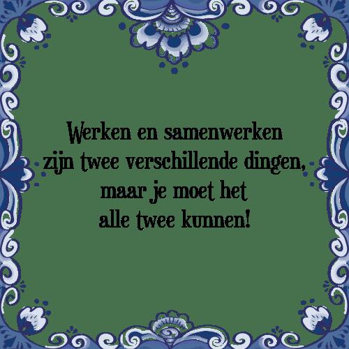 samenwerken spreuken Werken en   Tegel + Spreuk | TegelSpreuken.nl samenwerken spreuken